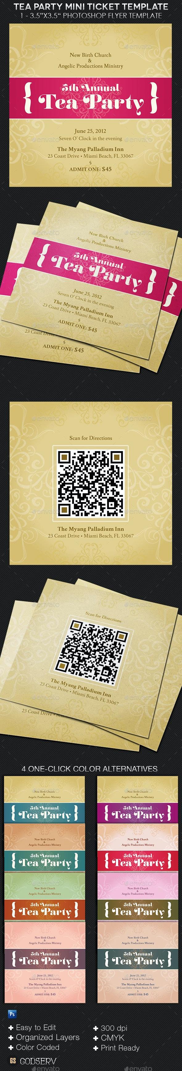 Tea Party Mini Ticket Template - Miscellaneous Print Templates