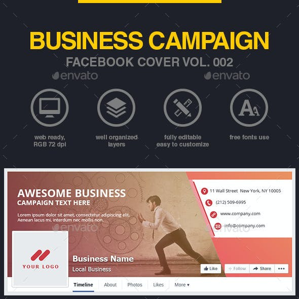 Business Campaign Facebook Cover Vol 002