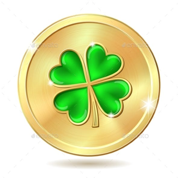 Golden Coin with Clover