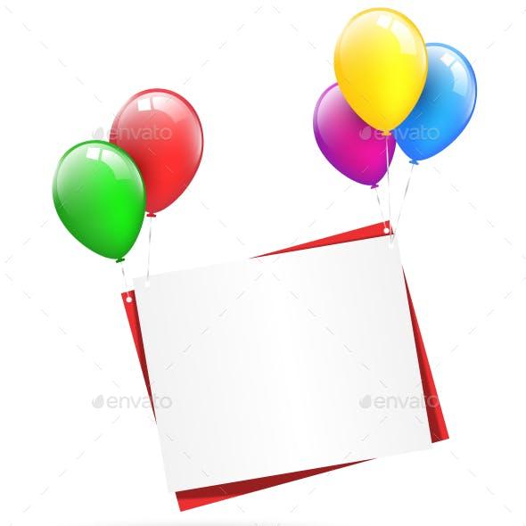 Festive Paper Sheets Hang on Balloons