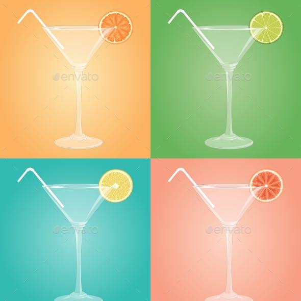 Empty Martini Glasses with Citrus