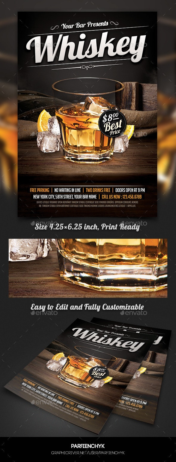 Whiskey Party Flyer Template - Clubs & Parties Events