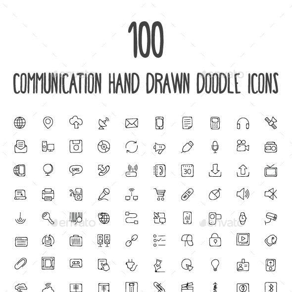 100 Communication Hand Drawn Icons