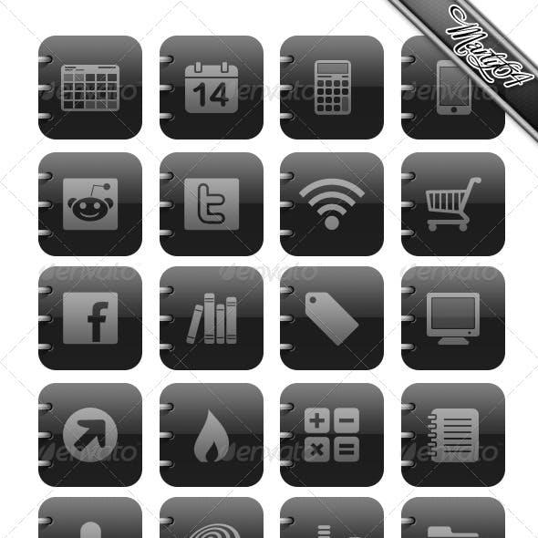 Matt Black and Grey Icons - Ipad / IPhone type.