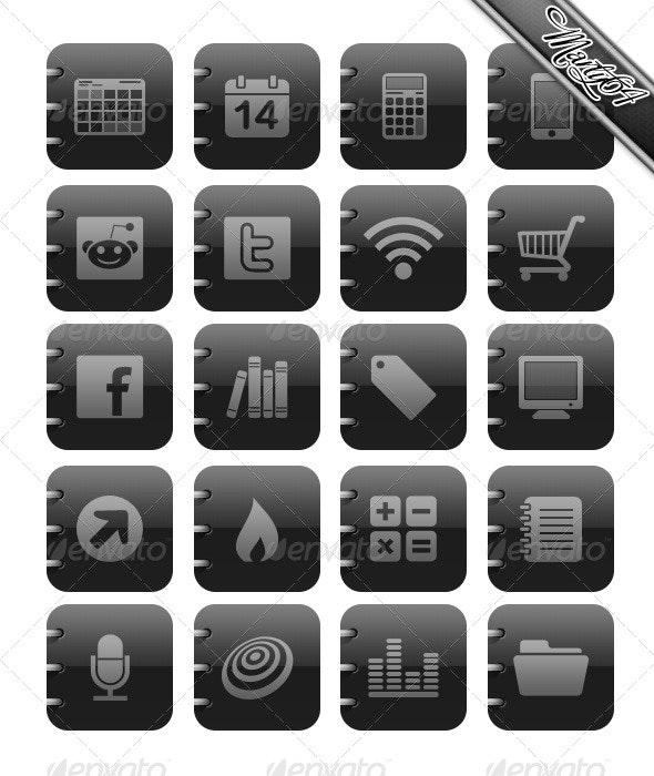 Matt Black and Grey Icons - Ipad / IPhone type. - Web Icons