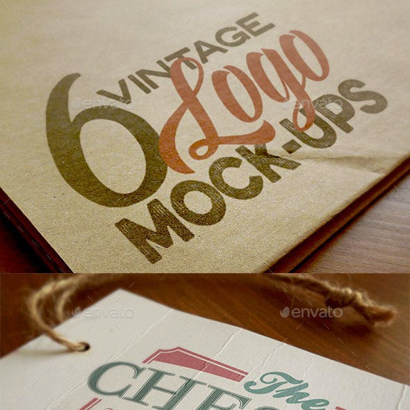 6 Logo Mock-ups - Retro/Vintage Style