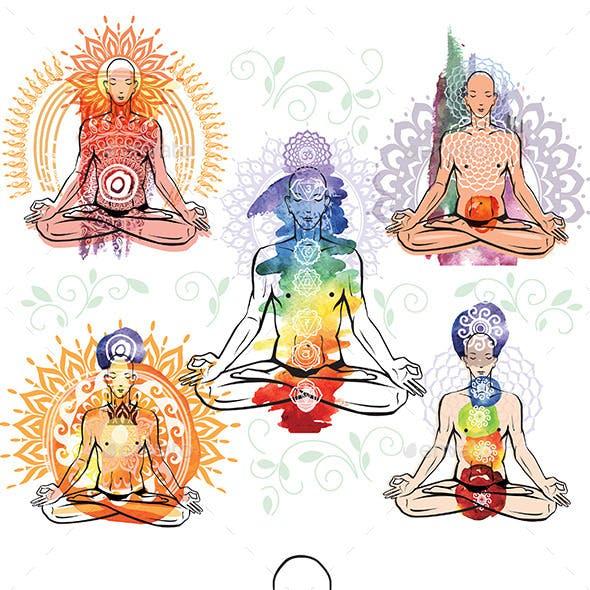 Man Meditating and Doing Yoga Poses