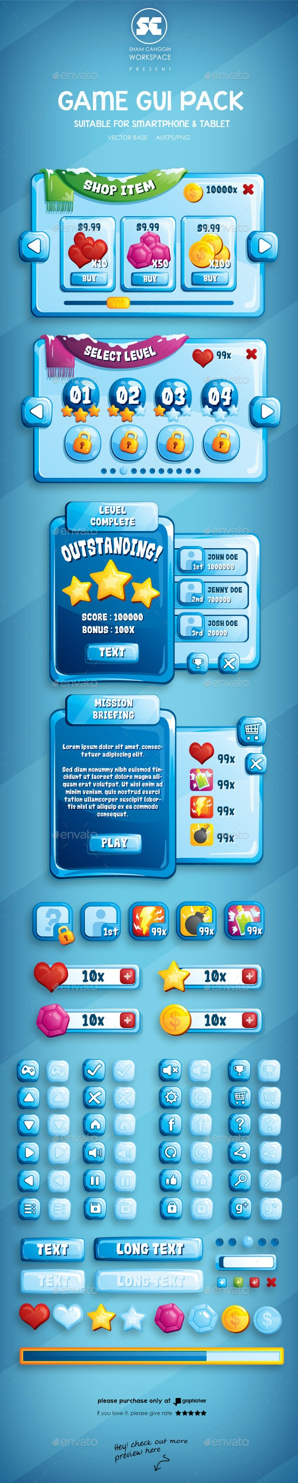 Ice Game GUI - User Interfaces Game Assets
