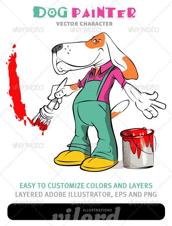 Dog Painter Mascot - Animals Characters