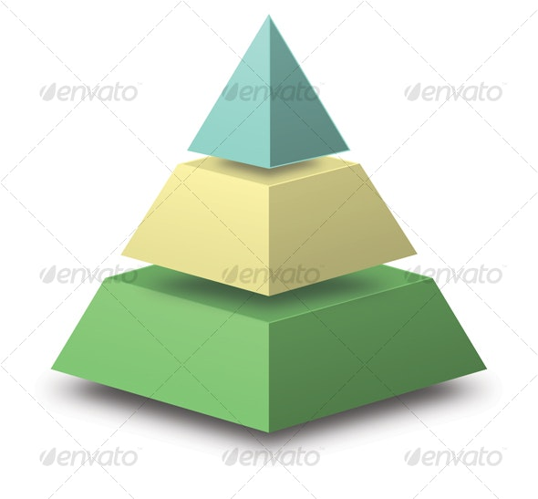 3D Pyramid with floating sections - Objects Illustrations