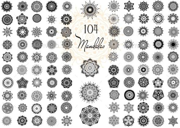 Ornament Round Set with Mandalas - Flowers & Plants Nature