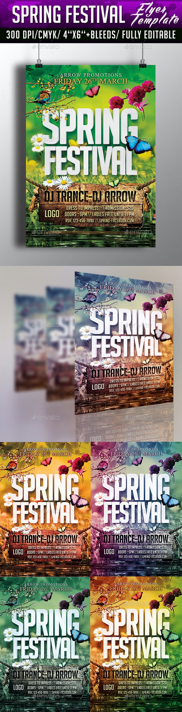 Spring Festival Flyer Template - Clubs & Parties Events