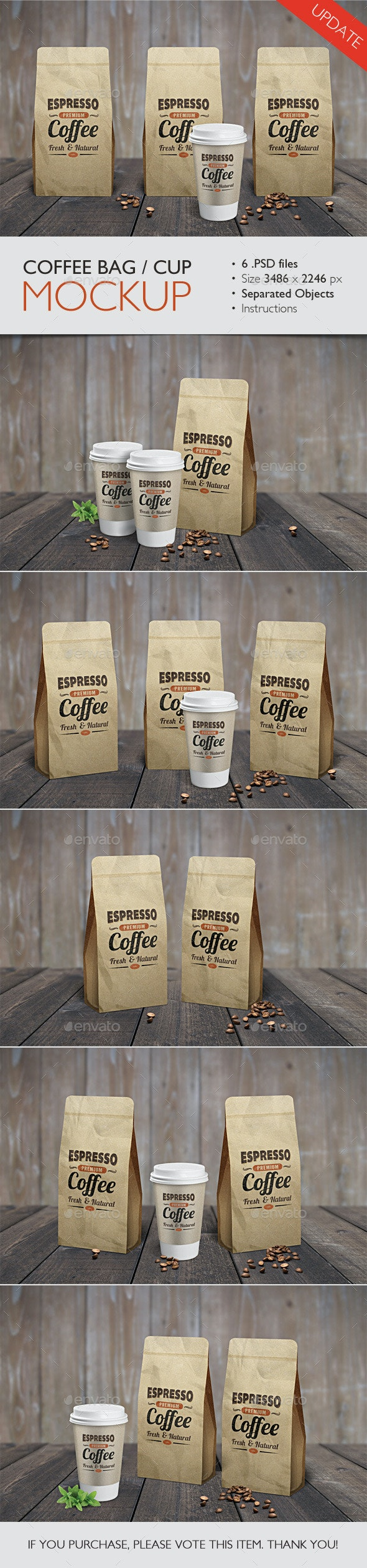 Coffee Bag / Cup Mock Up - Food and Drink Packaging