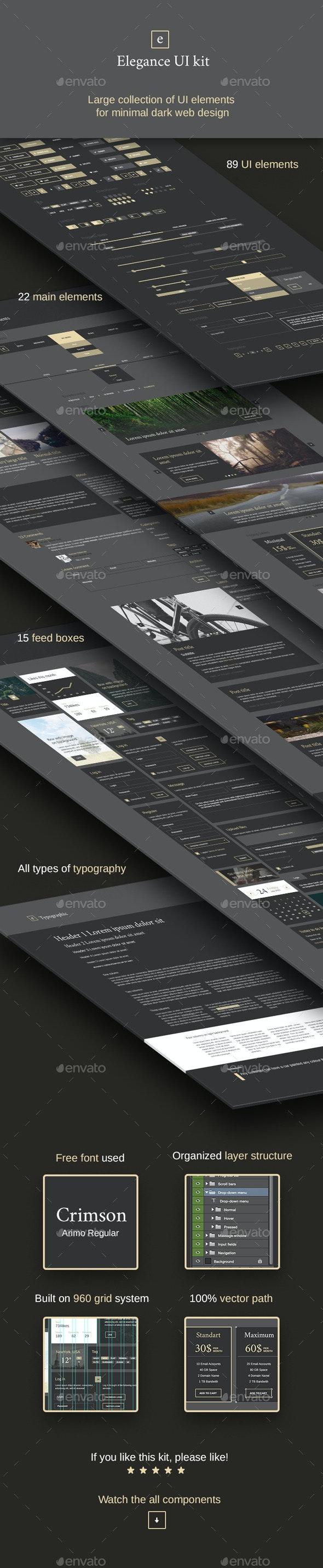Elegance - Minimal and Dark UI kit - User Interfaces Web Elements