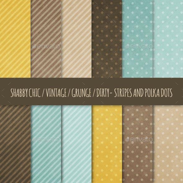 12 Grunge Polka Dots & Stripes Backgrounds