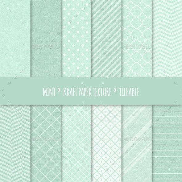 Mint Kraft Paper Seamless Patterns - Patterns Backgrounds