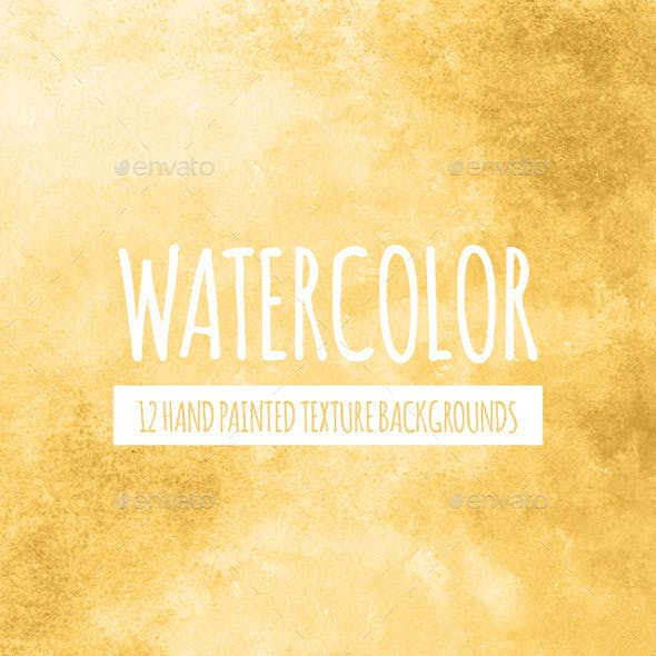 12 Yellow Gold Watercolor Backgrounds