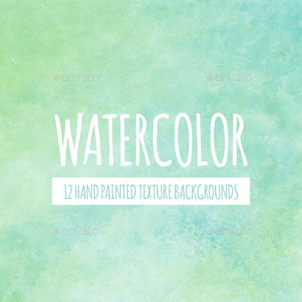 12 Green & Blue Watercolor Backgrounds