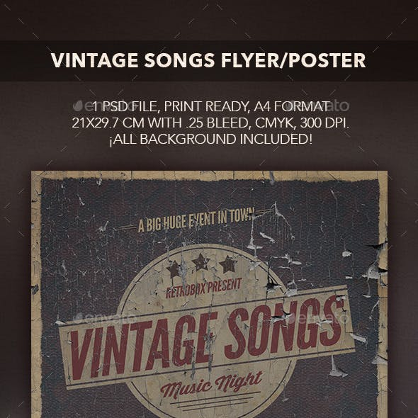 Vintage Songs Flyer Poster