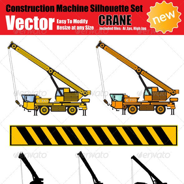 Vector Crane Silhouette Set