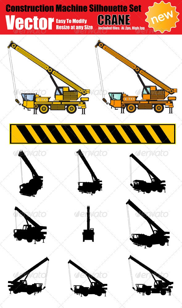Vector Crane Silhouette Set - Industries Business
