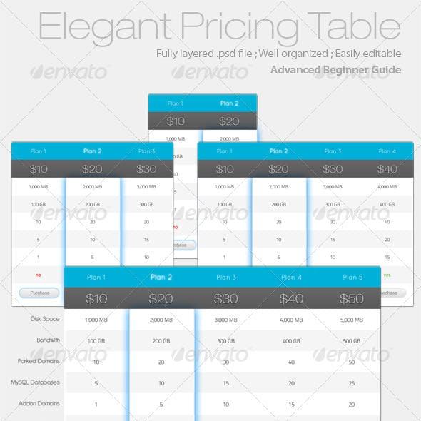 Elegant Pricing Table