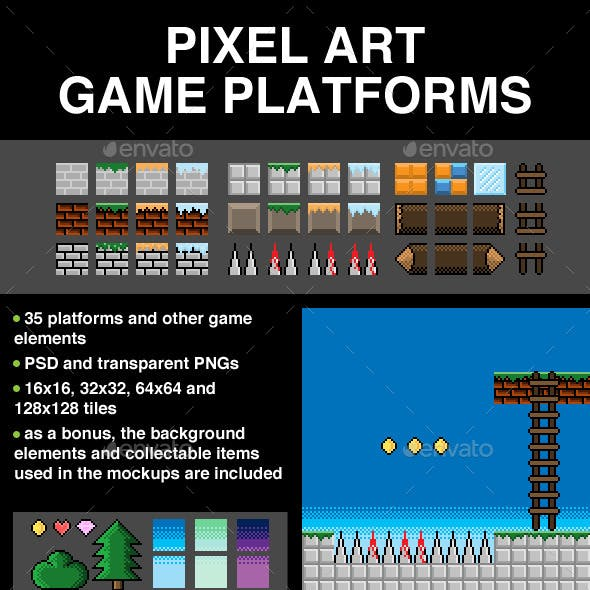 2D Pixel Art Game Tileset
