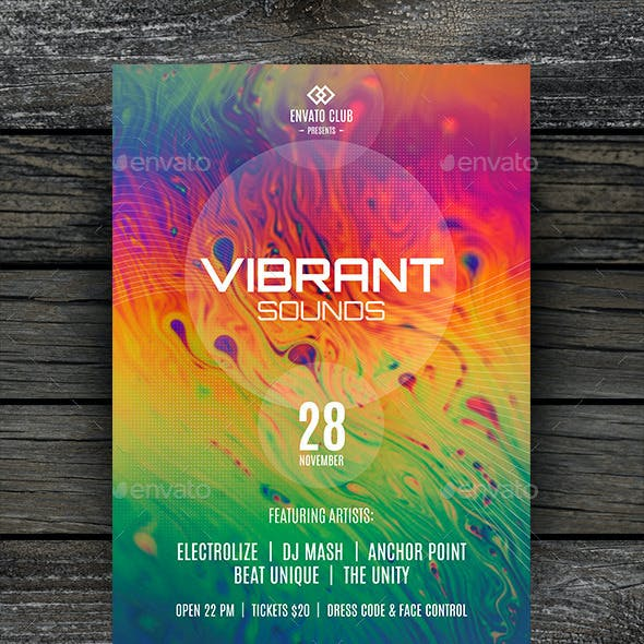 Vibrant Sounds Party Flyer Template
