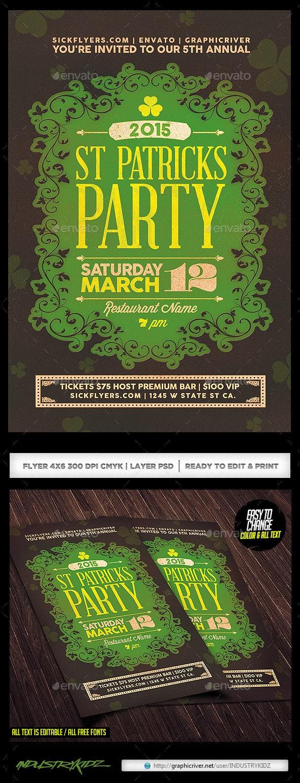 St Patricks Day Party Flyer & Invitation - Holidays Events
