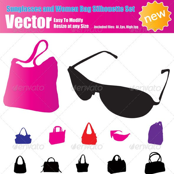 Vector Sunglasses and Women Bag Silhouette Set