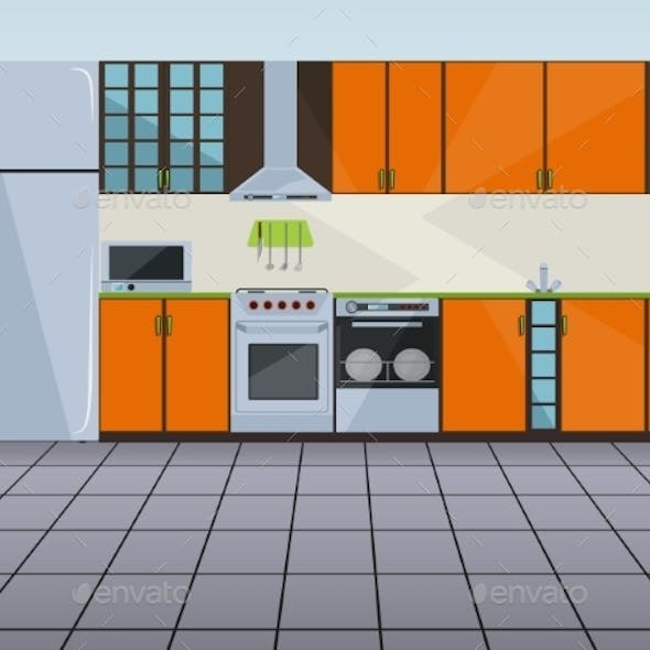 Modern Orange Kitchen Interior