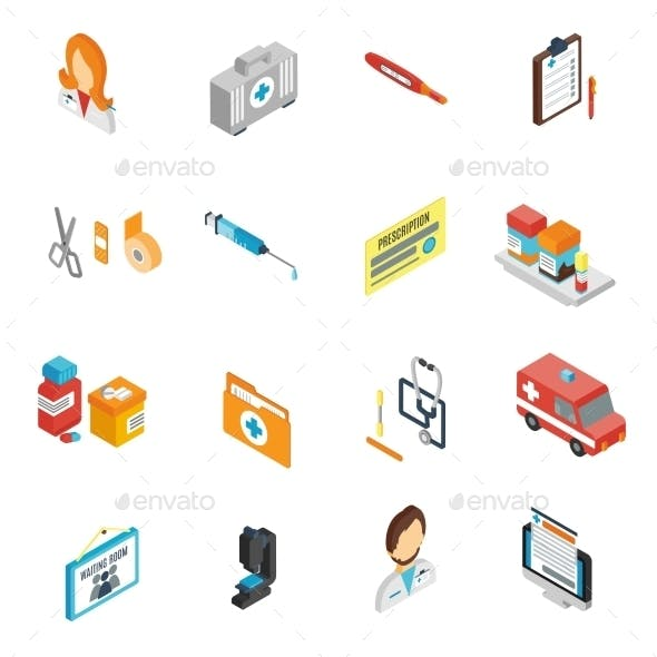 Doctor Icon Isometric Set