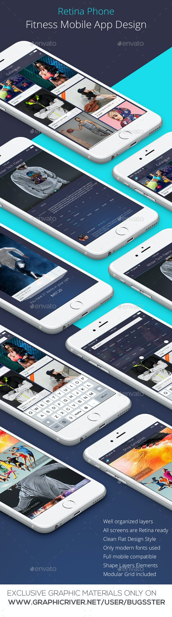 Mobile Fitness App Design for Retina Phone - User Interfaces Web Elements