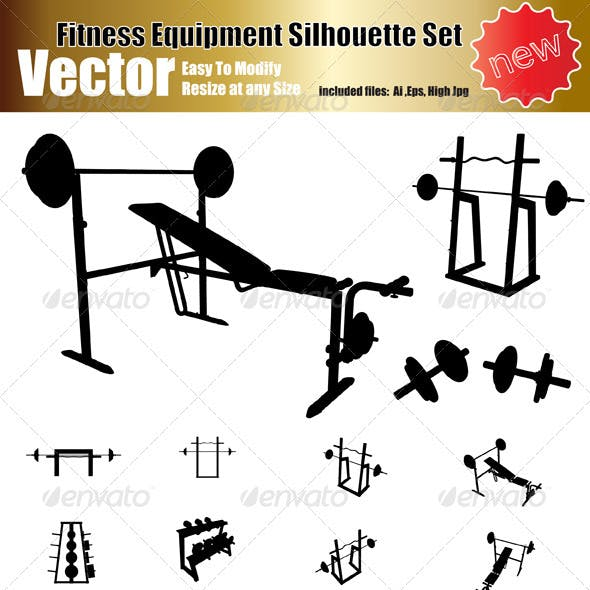 Vector Fitness Equipment Silhouette Set