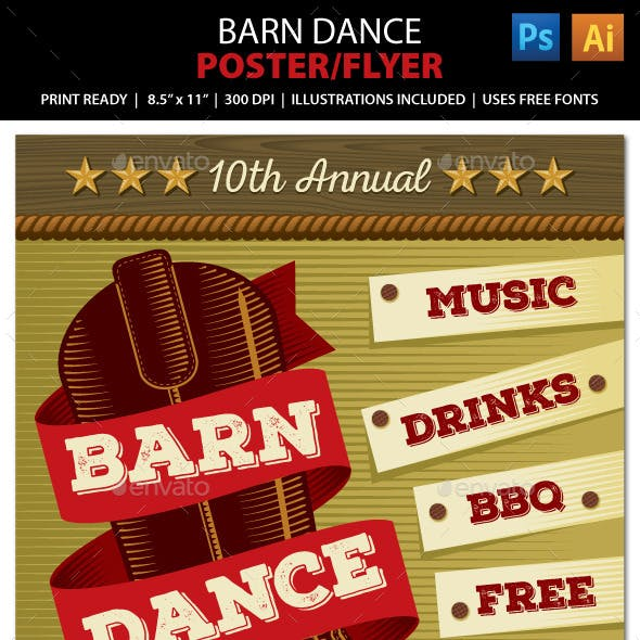 Country Music Barn Dance Poster, Flyer or Ad