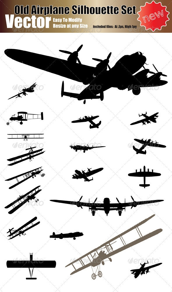 Vector Old Airplane Silhouette Set - Travel Conceptual