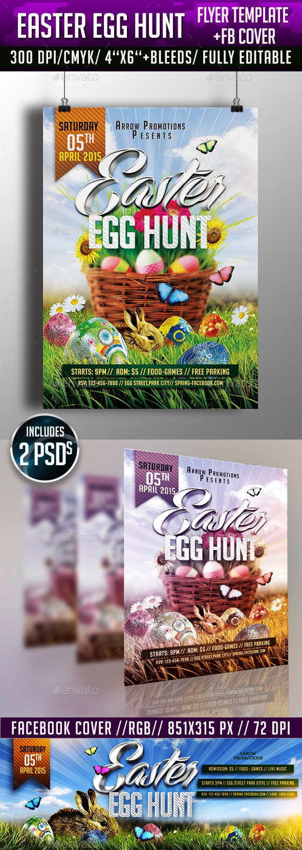 Easter Egg Hunt Flyer + FB Cover - Clubs & Parties Events