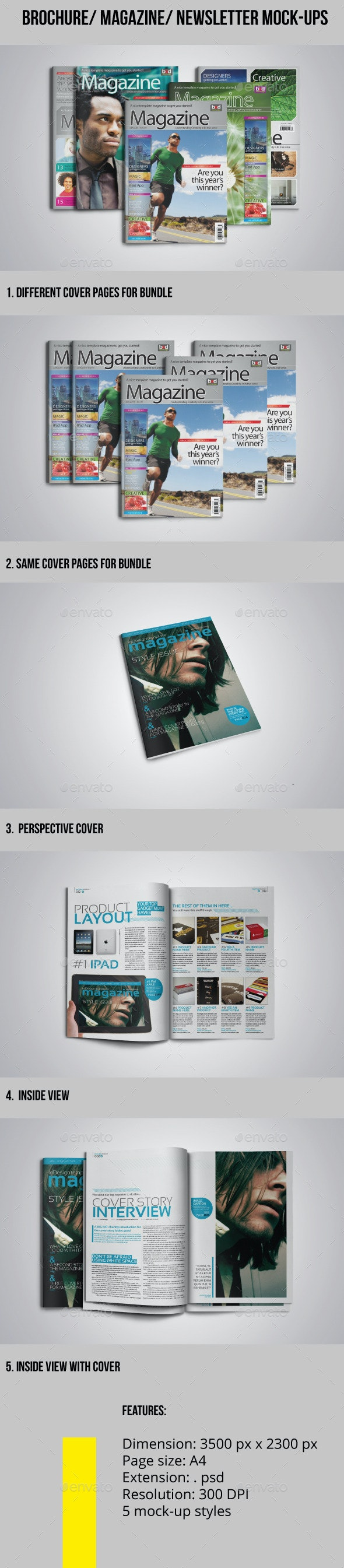 Brochure-Magazine-Newsletter Mock-ups - Product Mock-Ups Graphics