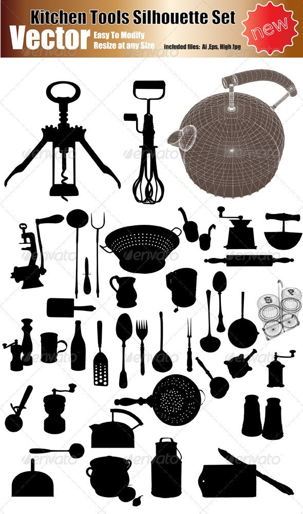 Vector Kitchen Tools Silhouette Set - Objects Vectors
