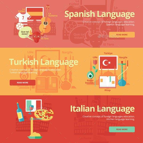 Flat Languages Lessons Concept Banners