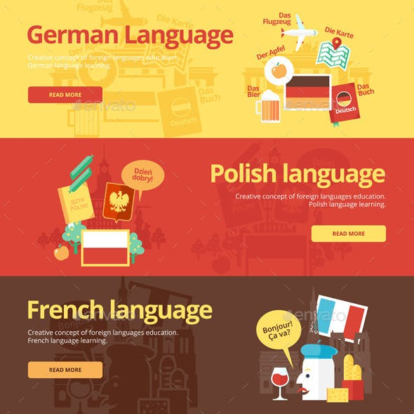 Flat Languages Lessons Concept Banners