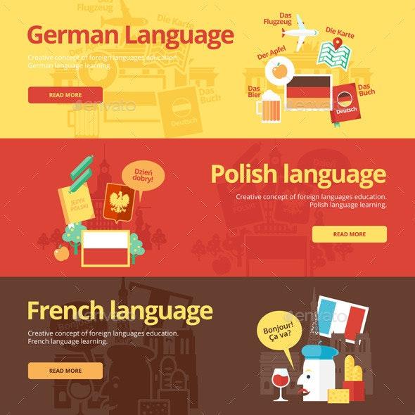 Flat Languages Lessons Concept Banners - Conceptual Vectors