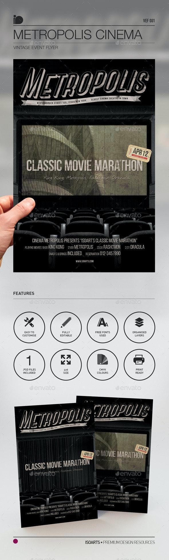 Vintage Event Flyer • Metropolis Cinema - Miscellaneous Events