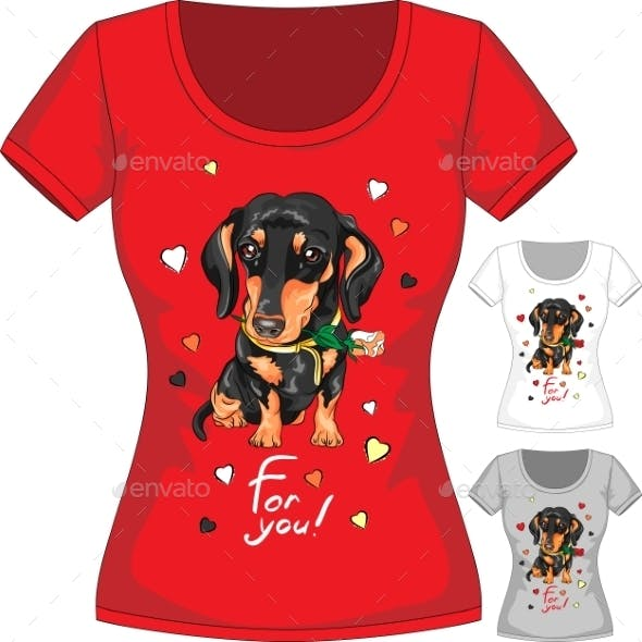 T-Shirt with Dachshund and Flower
