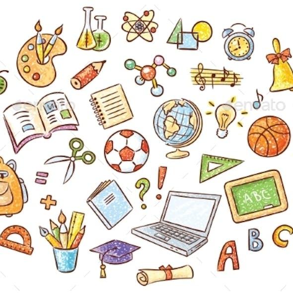 Set of Simple Cartoon School Things