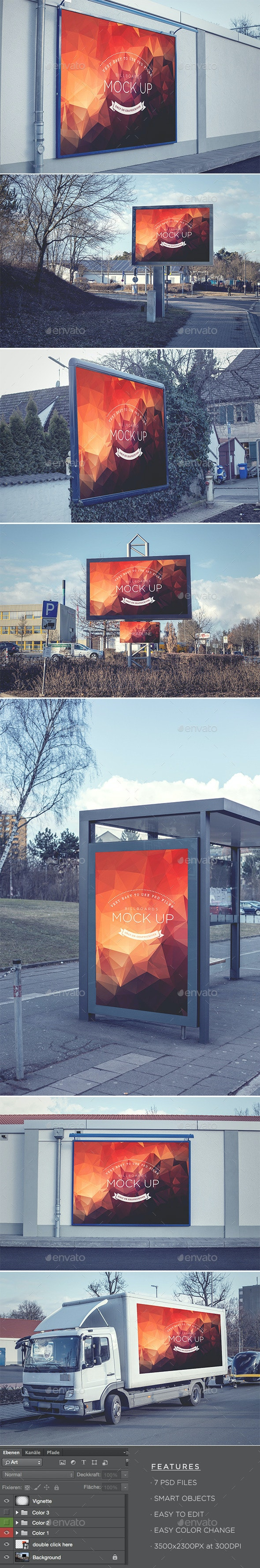 Billboards - Realistic Mock Up - Signage Print