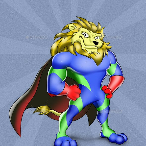 Superhero Lion Mascot