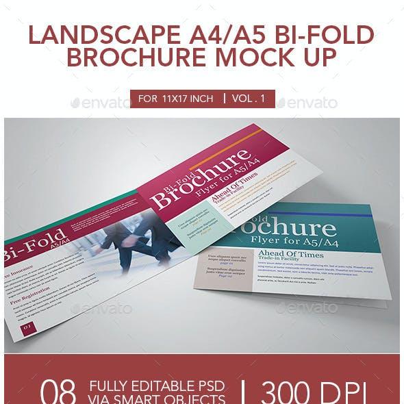 Landscape A4_A5 Bi-fold Brochure Mock Up