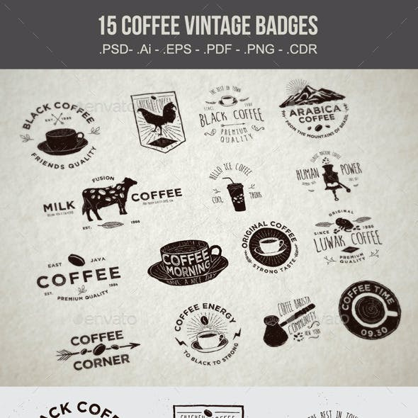 15 Coffee Vintage Badges