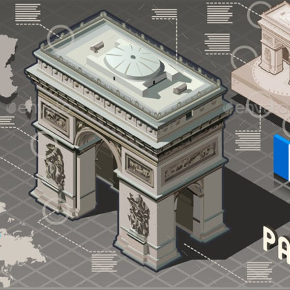Isometric Infographic Arc de Triomphe in Paris